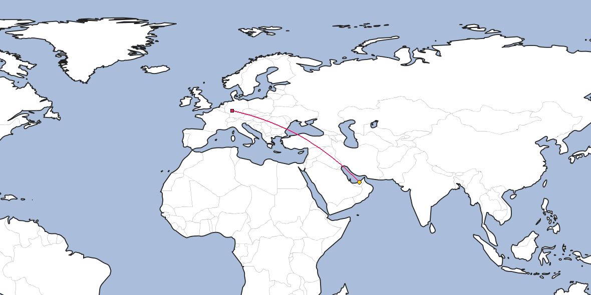 Map – Shortest path between Frankfurt and Abu Dhabi
