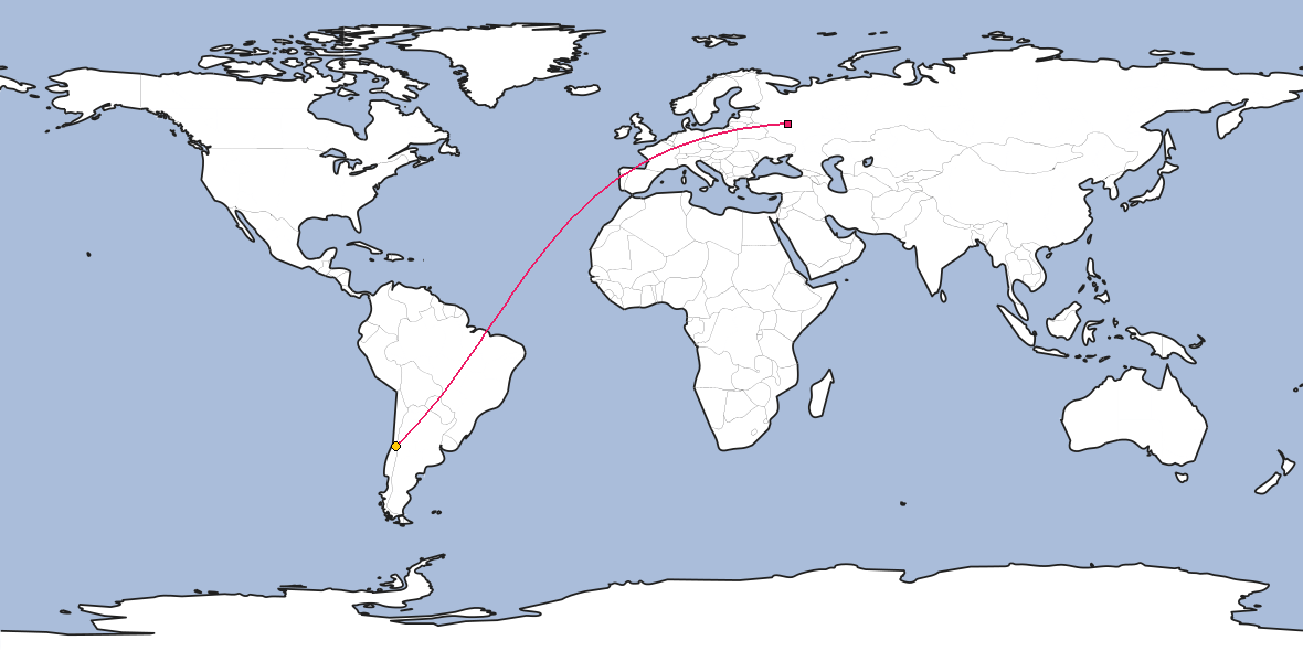 Map – Shortest path between Moscow and Santiago