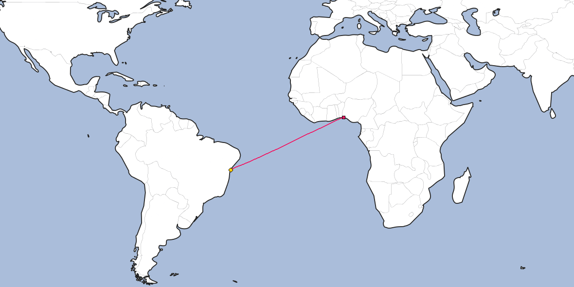 Map – Shortest path between Lagos and Salvador