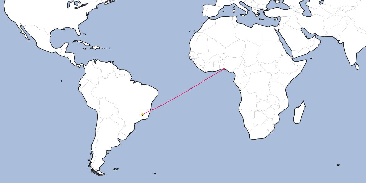 Map – Shortest path between Lagos and Belo Horizonte