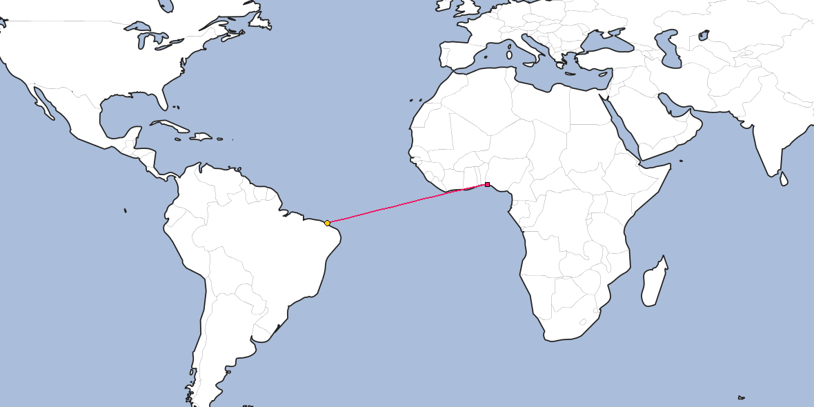 Map – Shortest path between Lagos and Fortaleza