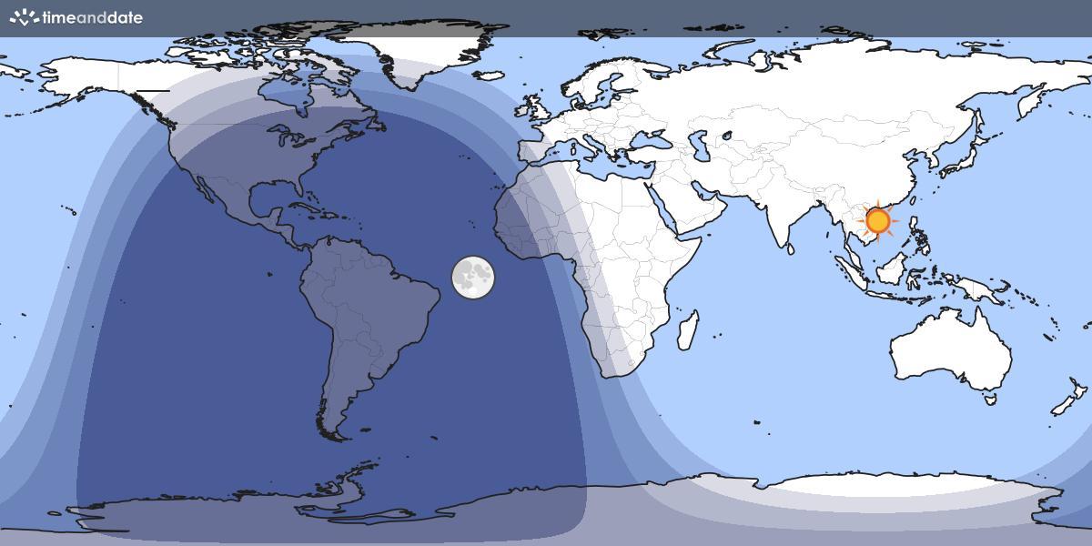 Zonas de día y de noche, culminación del Sol y de la Luna