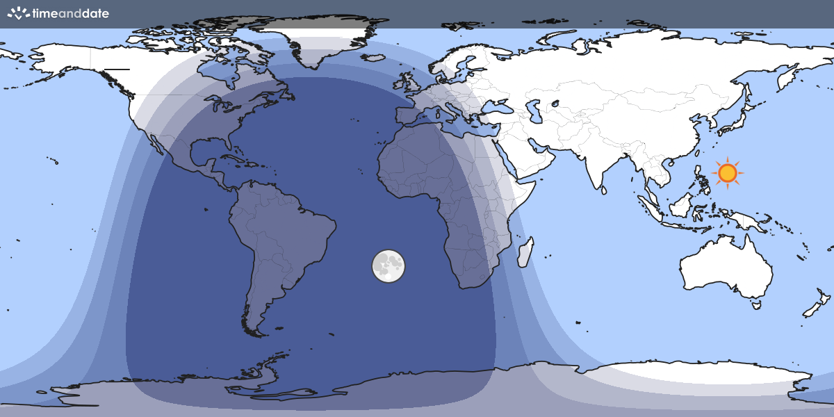Map showing day and night parts of the world