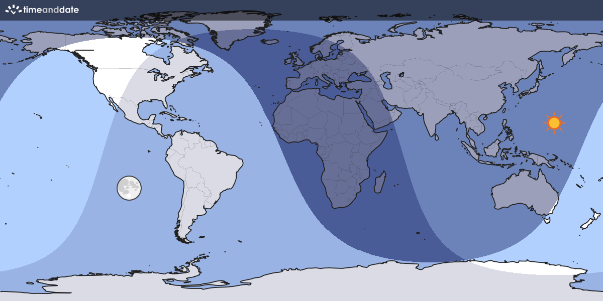 Map showing which part of the Earth the Moon is currently above the horizon at.