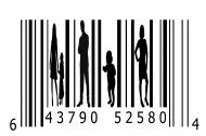 Bar code with people silhouetted between the bars.