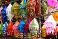 Beautiful sky lanterns made of colorful cloth for sale for the Diwali festival in India.