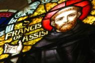 Stained glass portrait of St. Francis.
