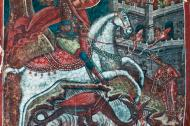 Byzantine style fresco with St George slaying the Dragon