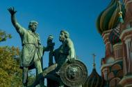 Famous statue of Minin and Pozharsky in front of St Basil's Cathedral on Red Square.