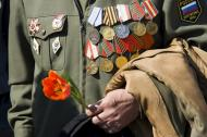9 may ,Victory Day in Russia (focus point on hand)