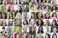 A diverse collection of female portraits, all are positive or smiling, laughing.