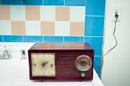 Retro radio in the bathroom.