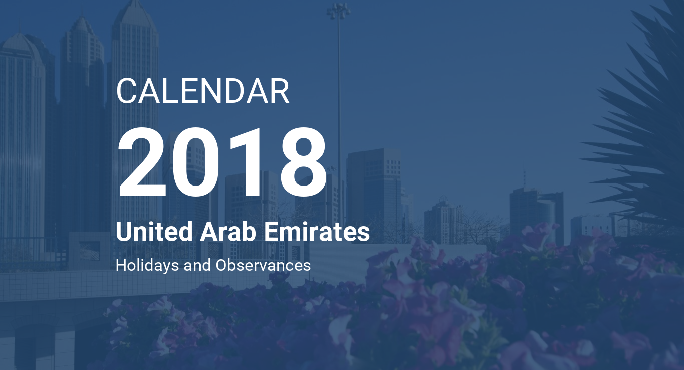 year 2018 calendar united arab emirates