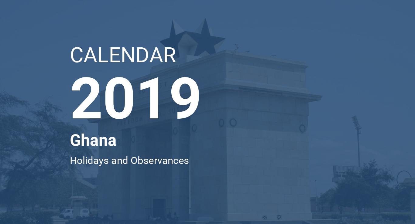 Year 2019 Calendar – Ghana