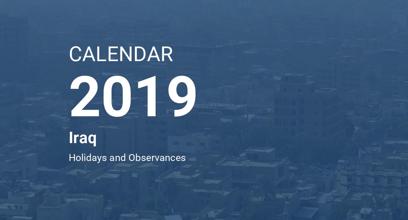 Year 2019 Calendar – Iraq
