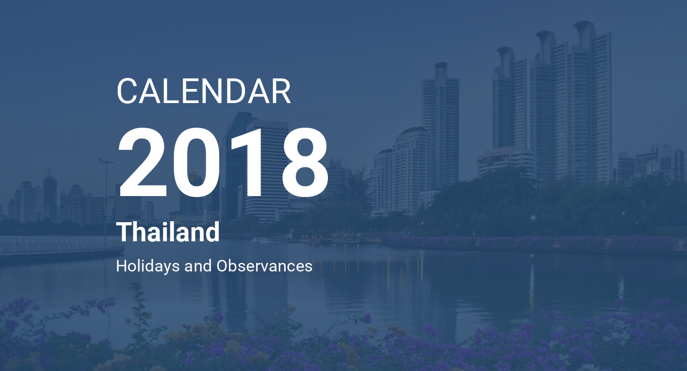 year 2018 calendar thailand