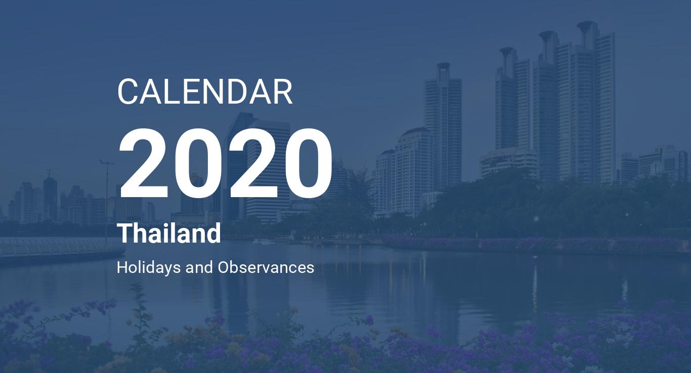 Thai Calendar 2020 Year 2020 Calendar – Thailand