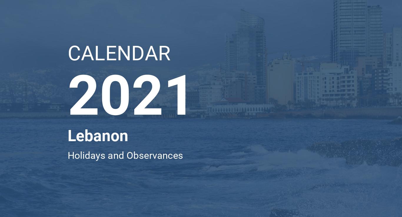 Year 2021 Calendar Lebanon