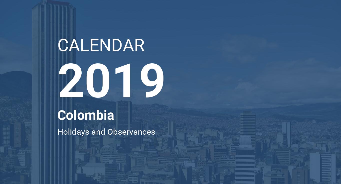 Calendario Colombia 2020.Year 2019 Calendar Colombia