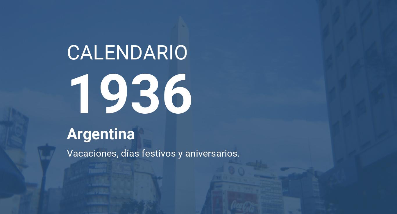 Calendario 1936.Year 1936 Calendar Argentina