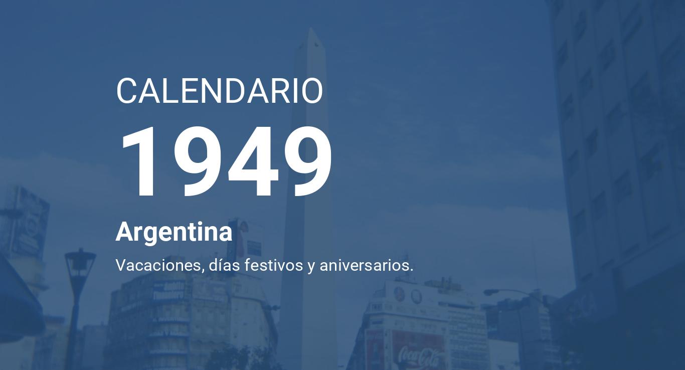 Calendario 1949.Year 1949 Calendar Argentina