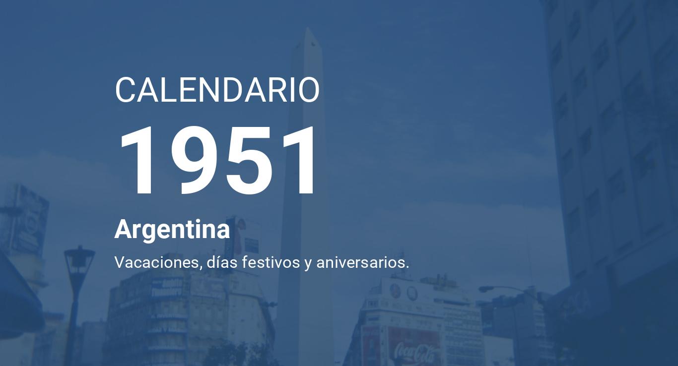 Calendario 1951.Year 1951 Calendar Argentina