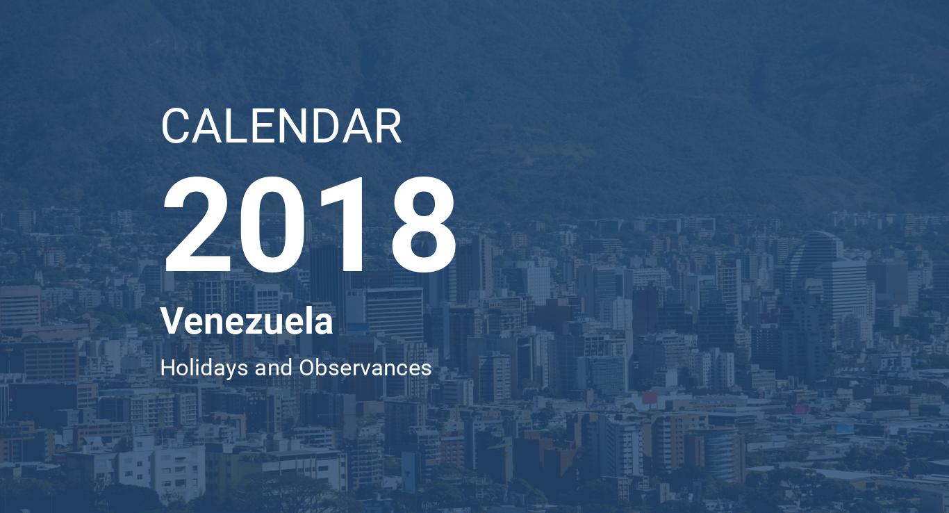 year 2018 calendar venezuela