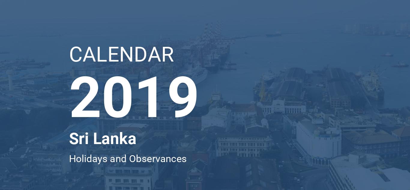 year 2019 calendar sri lanka