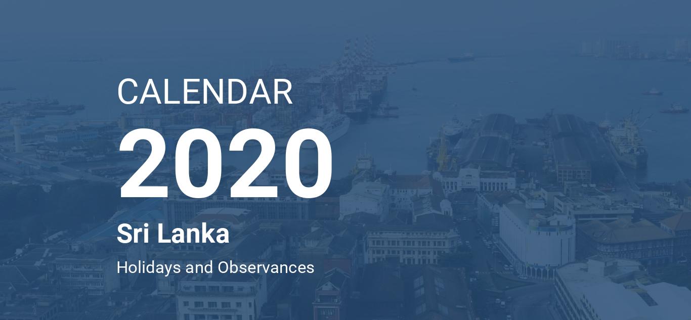 Year 2020 Calendar – Sri Lanka