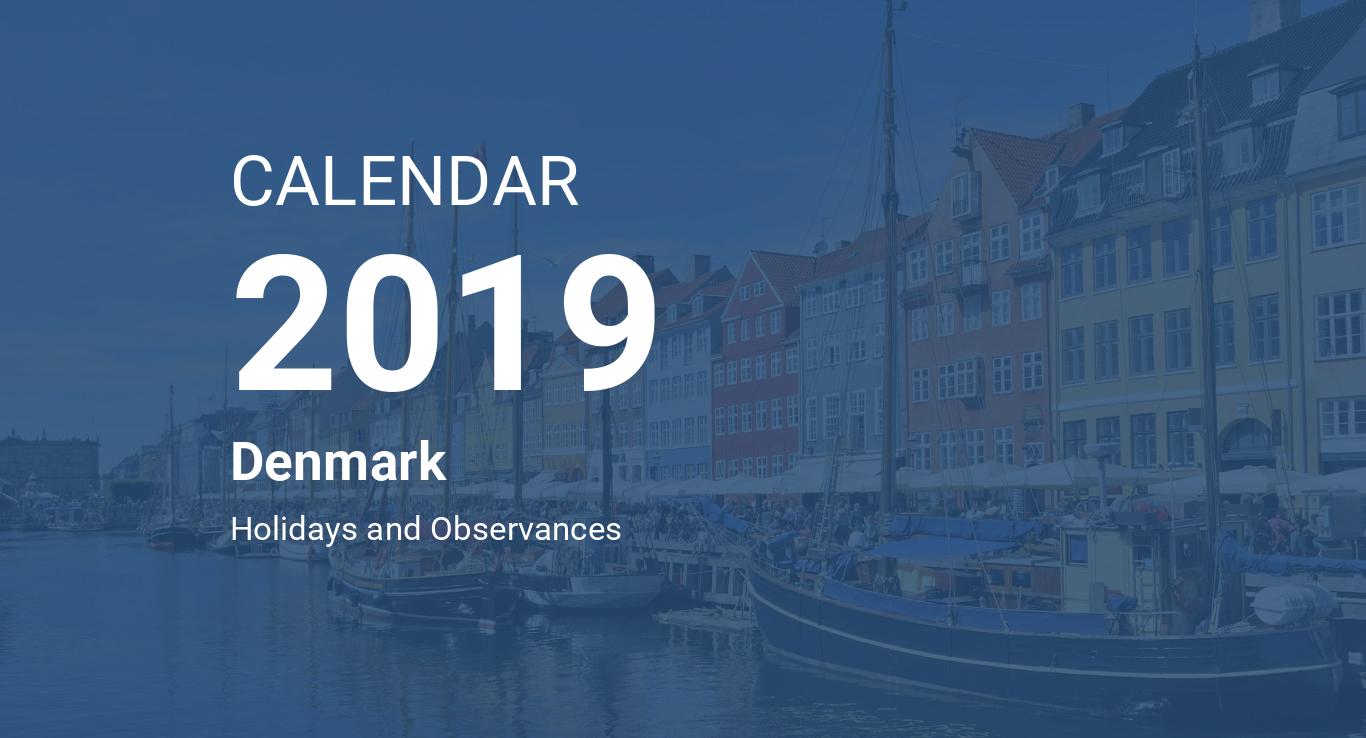 Year 2019 Calendar Denmark
