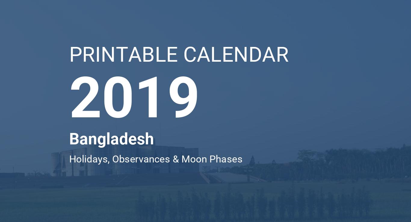 Printable Calendar 2019 for Bangladesh (PDF)