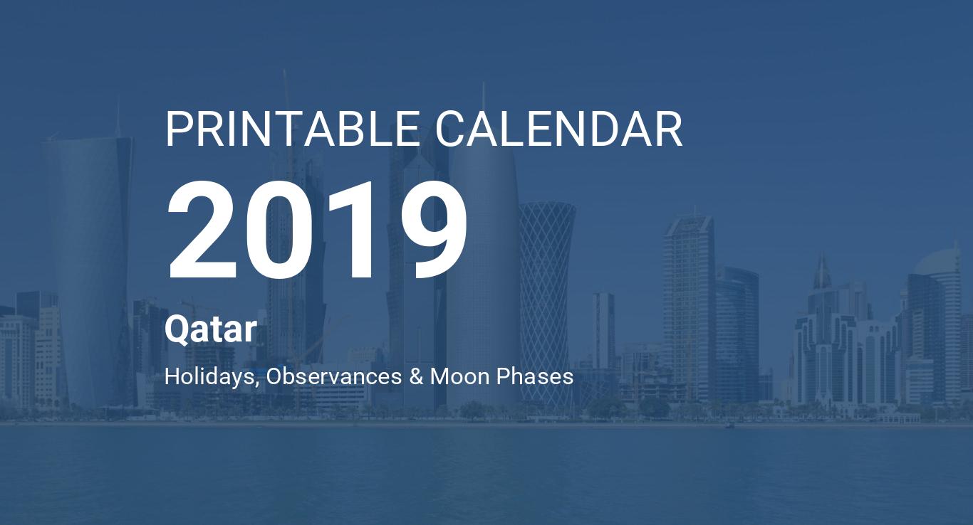Printable Calendar 2019 for Qatar (PDF)