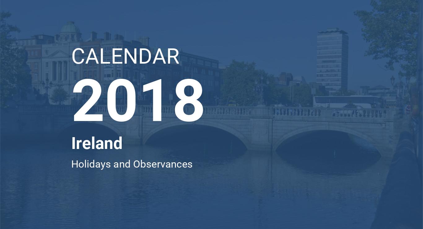 year 2018 calendar ireland