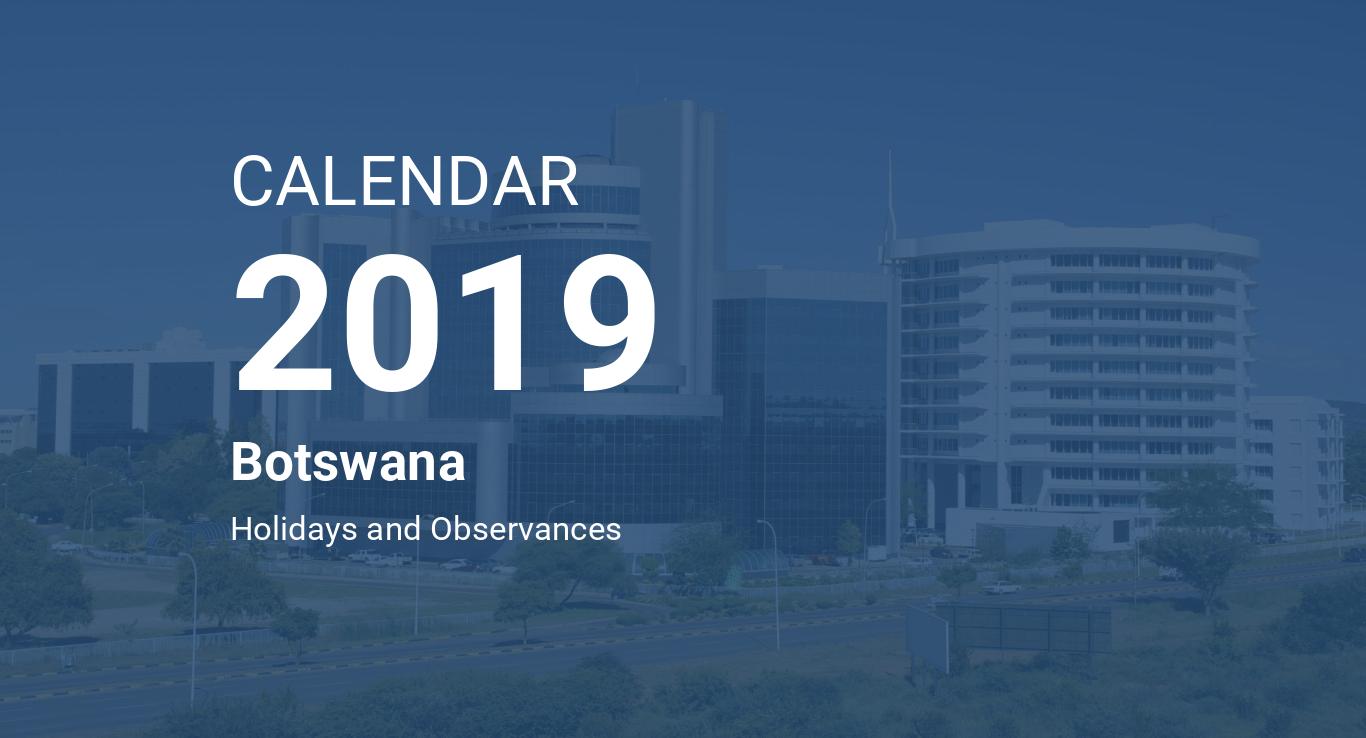 Year 2019 Calendar – Botswana