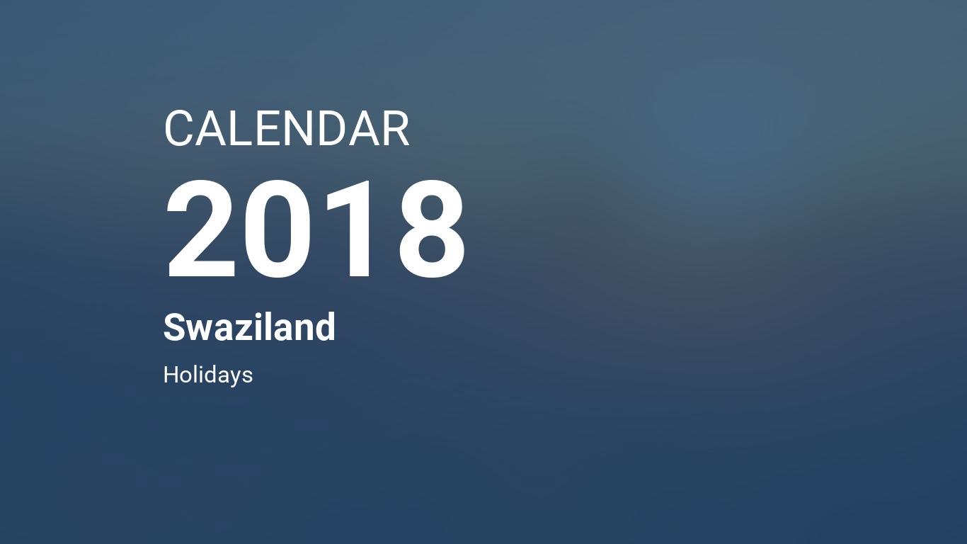 year 2018 calendar swaziland