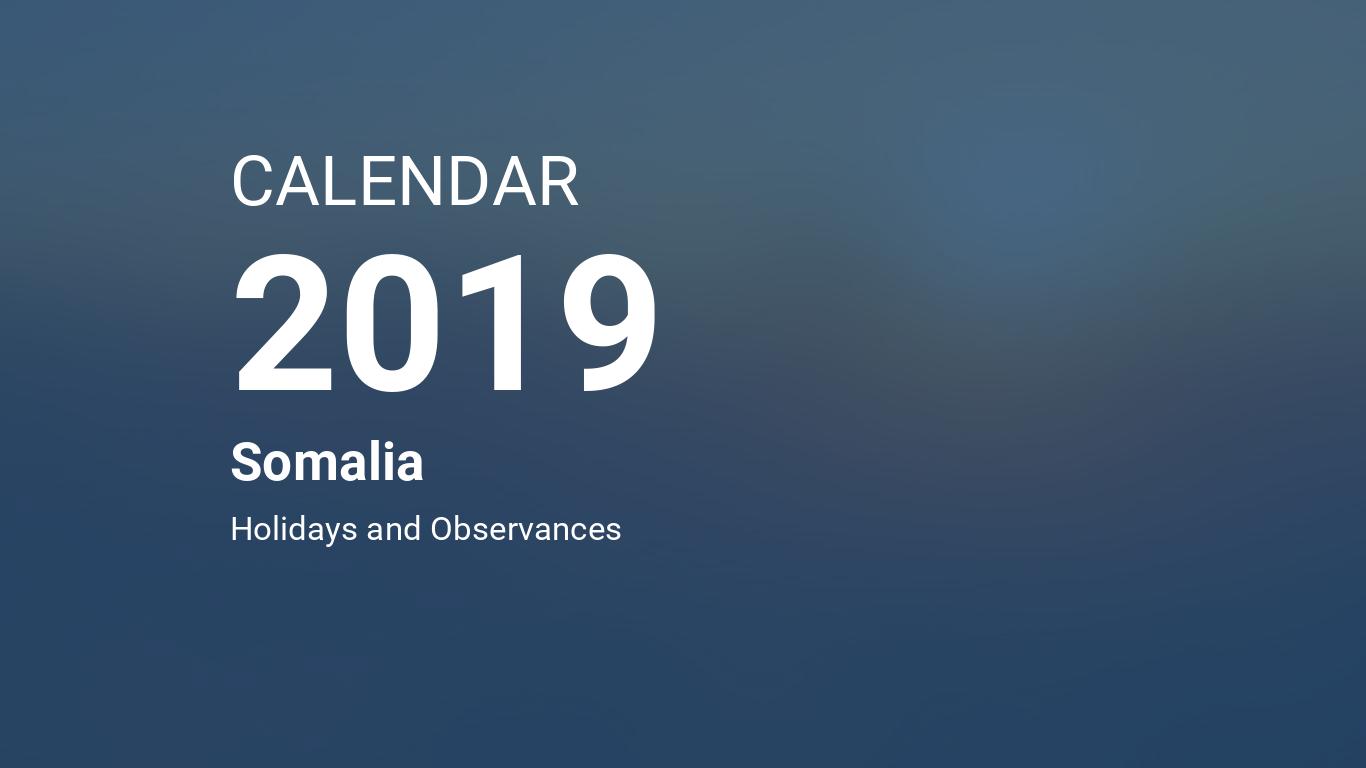 Year 2019 Calendar – Somalia