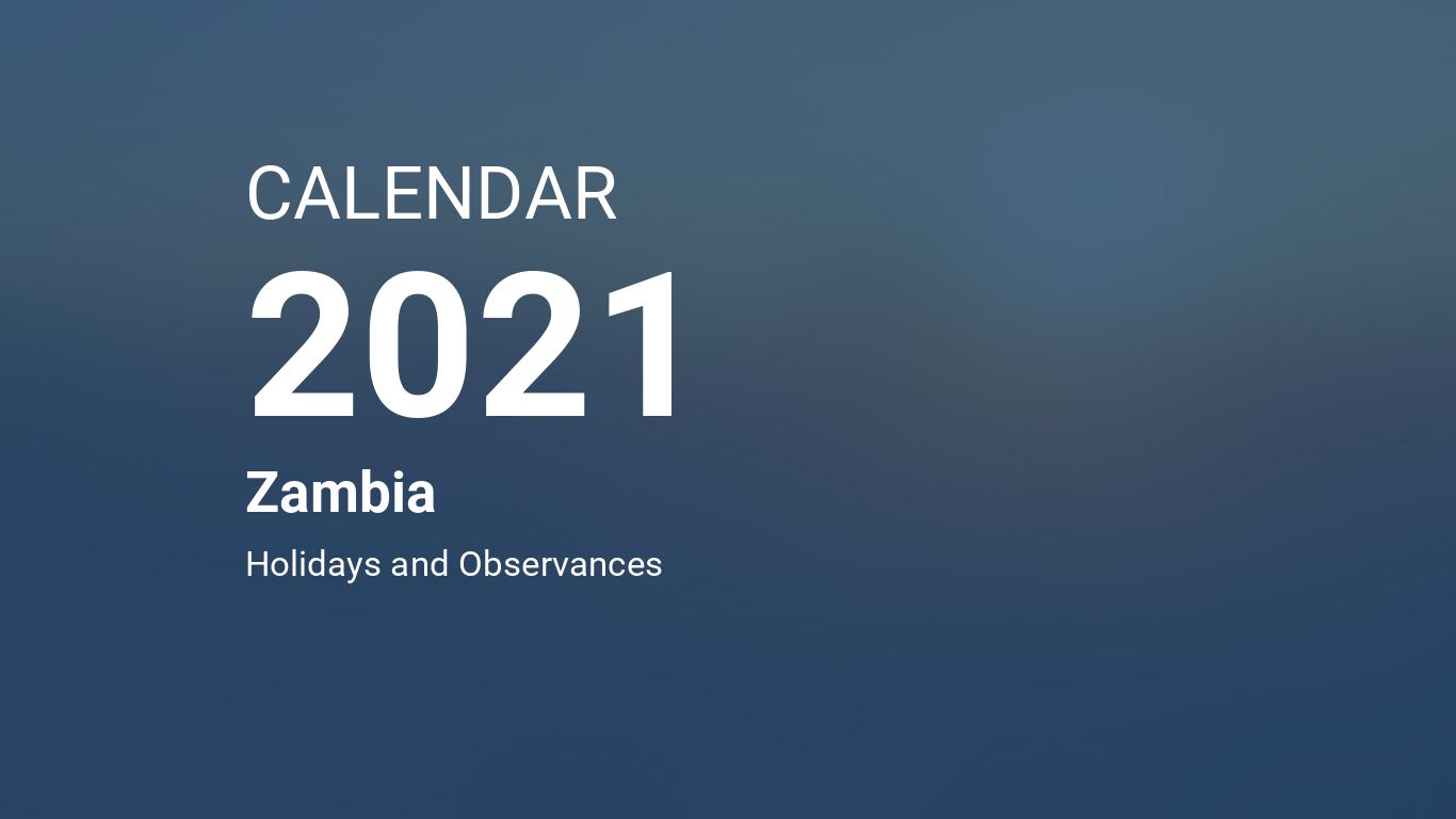 Year 2021 Calendar Zambia