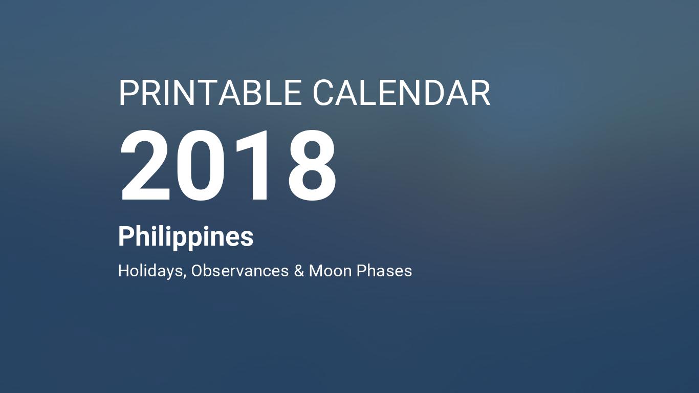 Printable Calendar 2018 For Philippines PDF