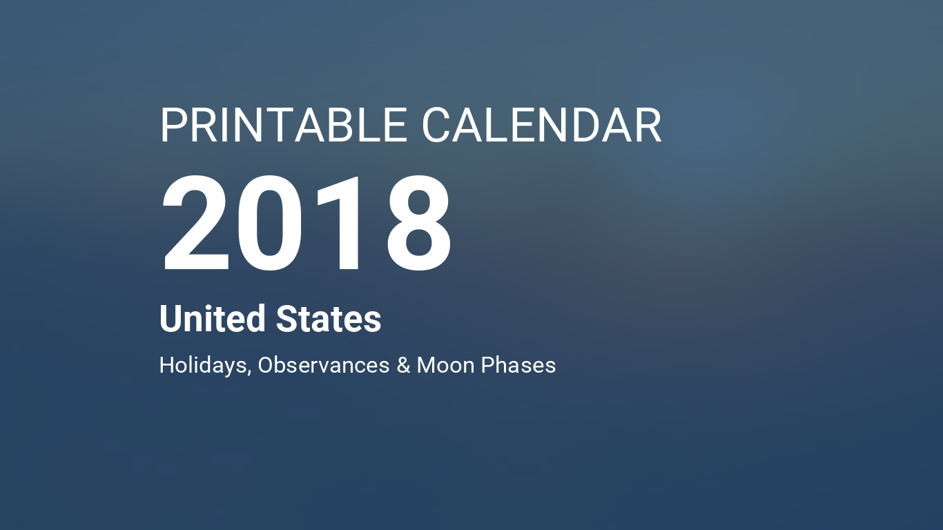 printable calendar 2018 for united states pdf