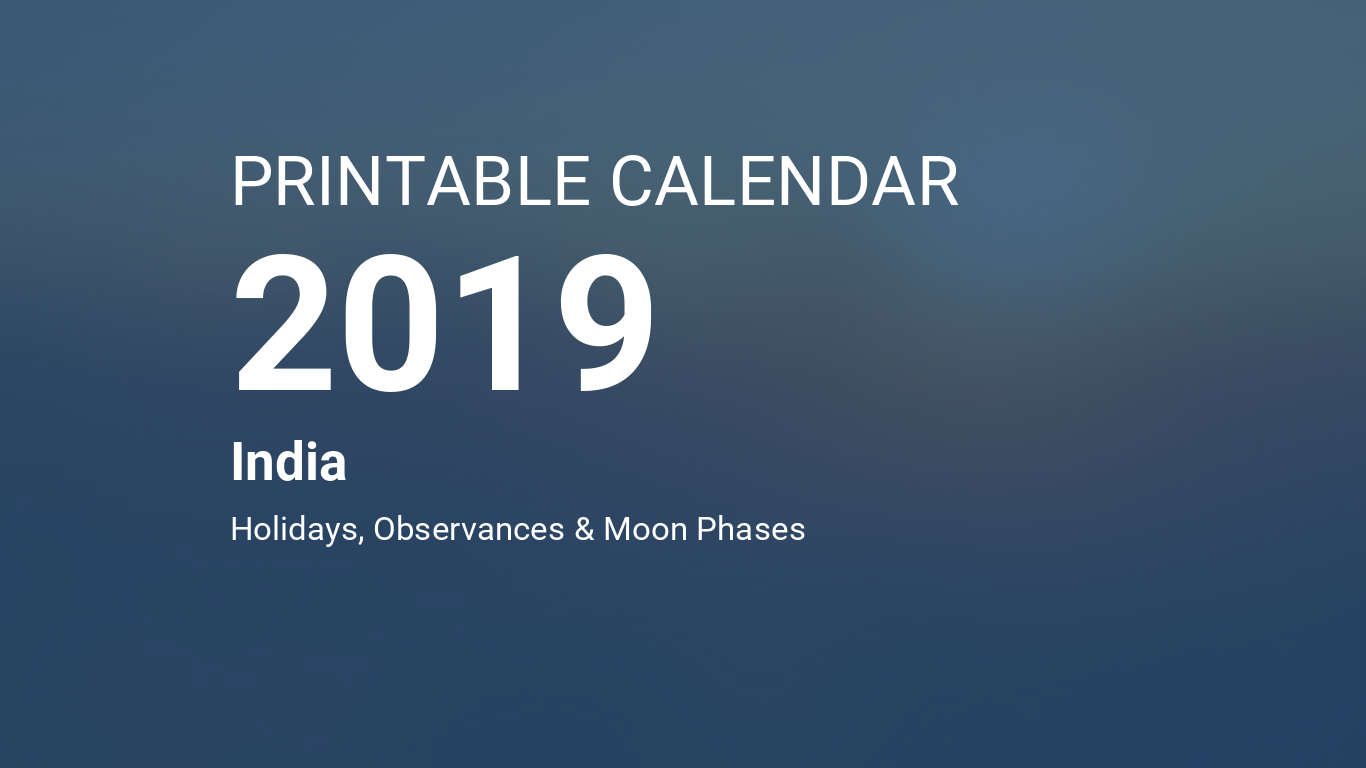 Printable Calendar 2019 for India (PDF)
