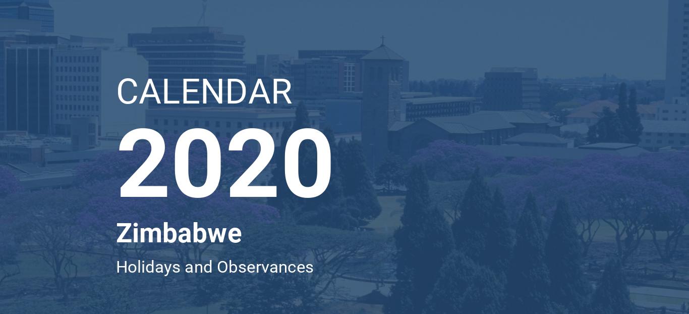 Year 2020 Calendar Zimbabwe