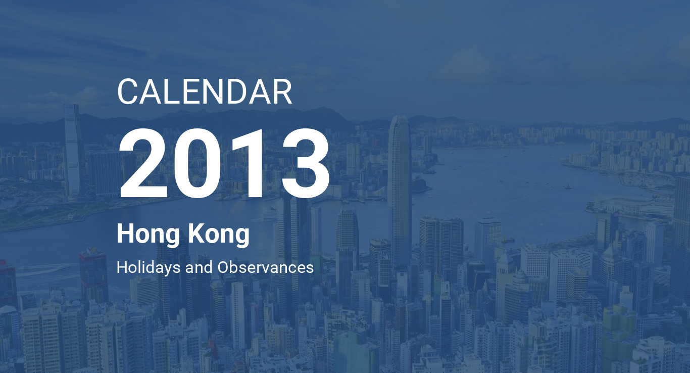 year 2013 calendar hong kong