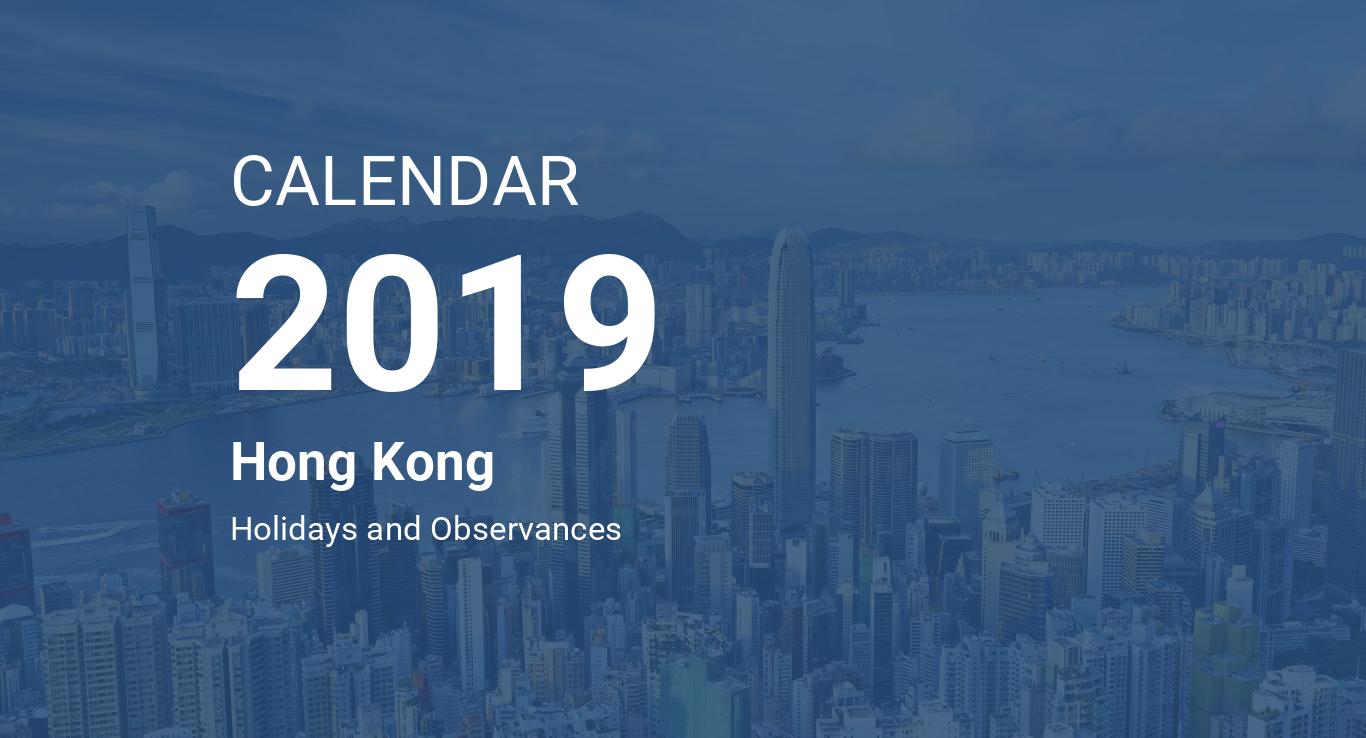 year 2019 calendar hong kong