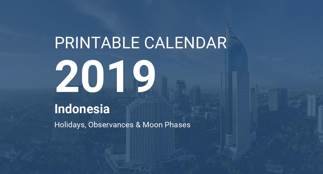 Printable Calendar 2019 For Indonesia Pdf