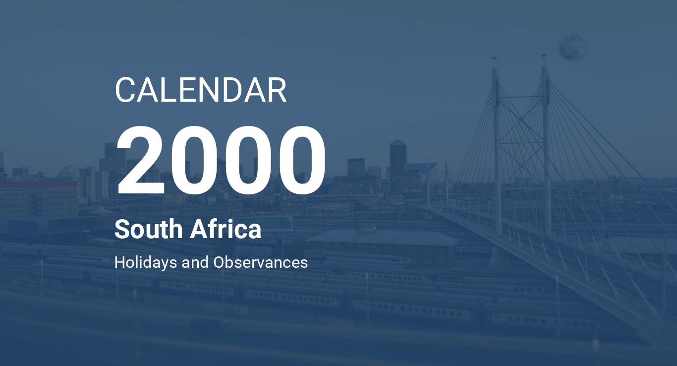 Year 2000 Calendar South Africa