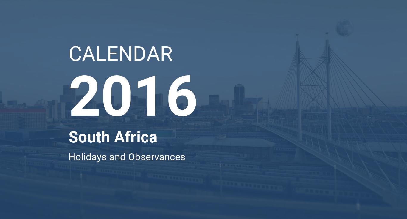 Year 2016 Calendar – South Africa