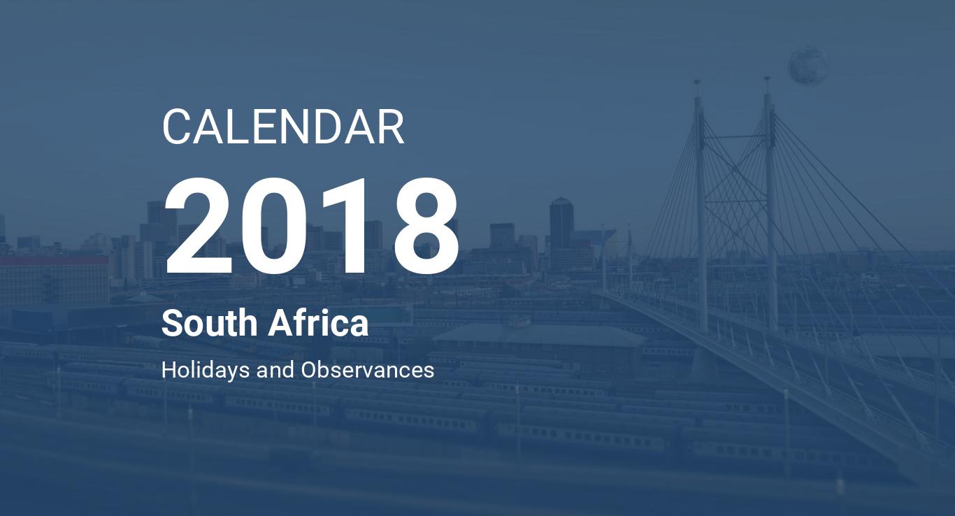 year 2018 calendar south africa