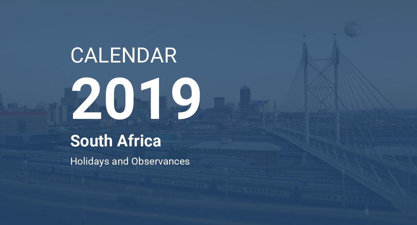 year 2019 calendar south africa