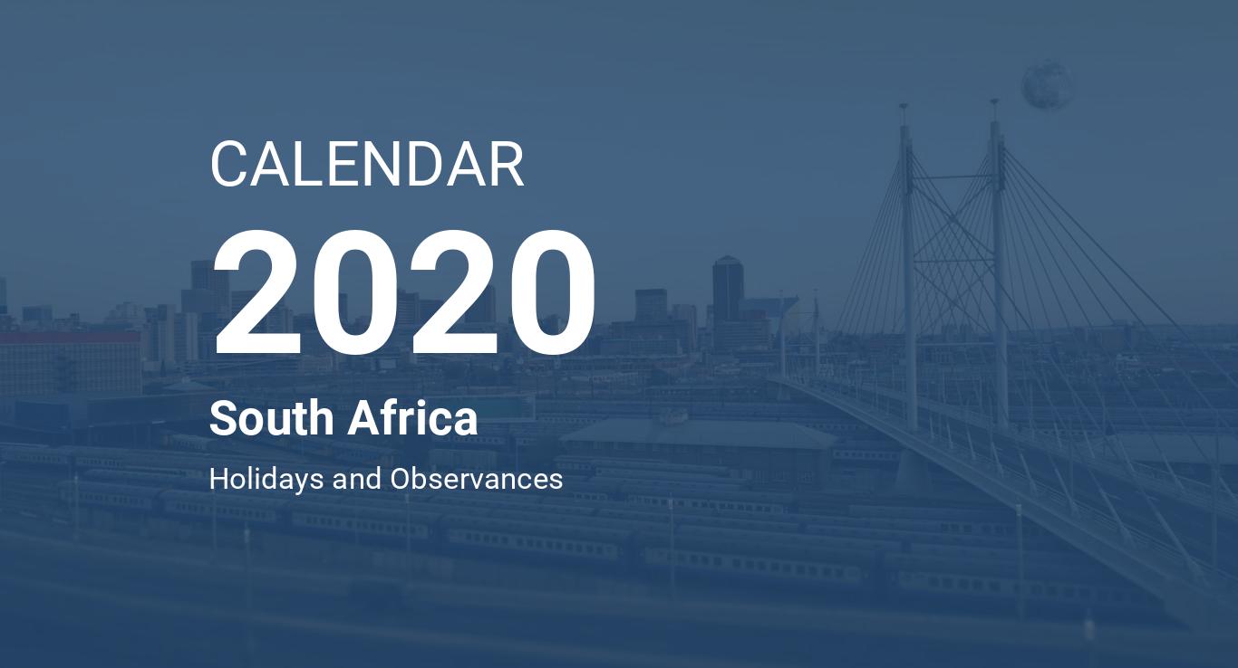 Year 2020 Calendar – South Africa
