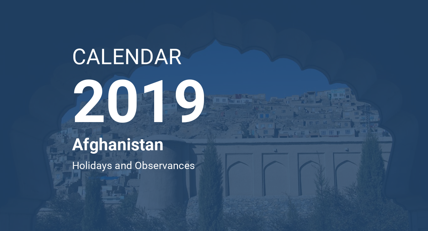 Year 2019 Calendar – Afghanistan